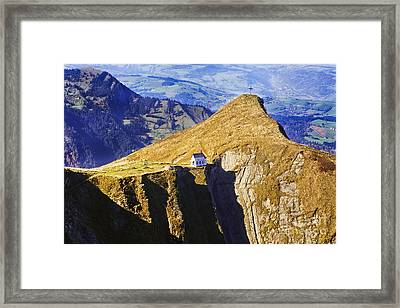 Little Chapel On The Mountain Framed Print by George Oze