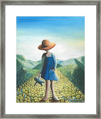 Little Girl On The Road Framed Print by Valerie Graniou-Cook