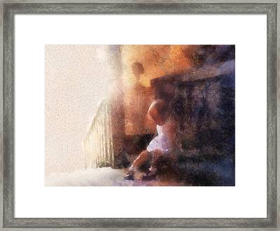 Little Girl Thinking Framed Print by Nora Martinez