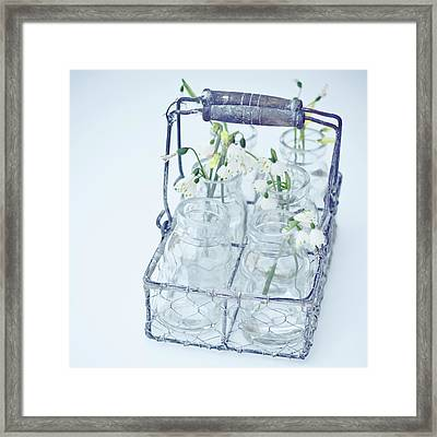 Little Jars In Wire Rack Framed Print by Karen Anderson Photography
