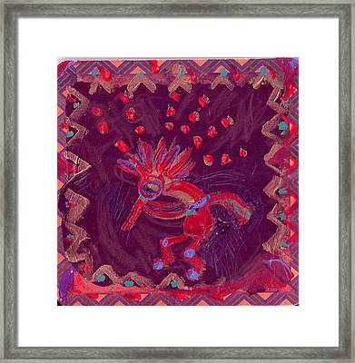 Little Kokopelli With Sash Framed Print by Anne-Elizabeth Whiteway