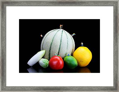 Little People Hiking On Fruits Framed Print by Paul Ge