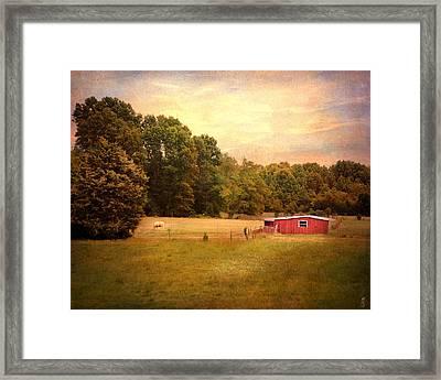 Little Red Barn Framed Print by Jai Johnson