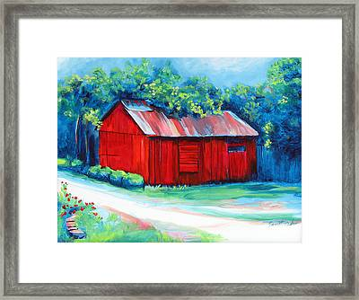Little Red Barn Framed Print by Janet Oh