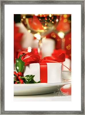 Little Red Ribboned Gift Framed Print by Sandra Cunningham
