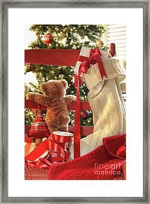 Little Teddy Bear Looking Through Chair Framed Print by Sandra Cunningham