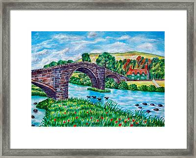 Llanrwst Bridge - Wales Framed Print by Ronald Haber
