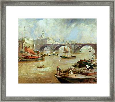 London Bridge From Bankside Framed Print by Sir David Murray