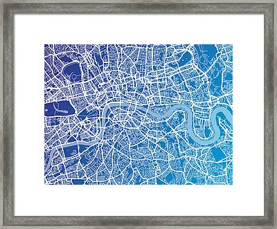 London England Street Map Framed Print by Michael Tompsett