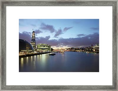 London Skyline At Sunset Framed Print by Richard Newstead