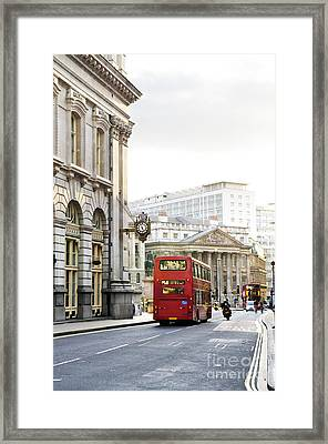 London Street With View Of Royal Exchange Building Framed Print by Elena Elisseeva