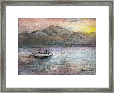 Lone Fisherman Framed Print by Arline Wagner