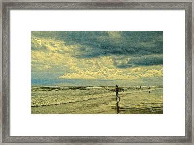 Lone Surfer Framed Print by Barbara Middleton
