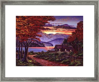Lonely Cabin Framed Print by David Lloyd Glover