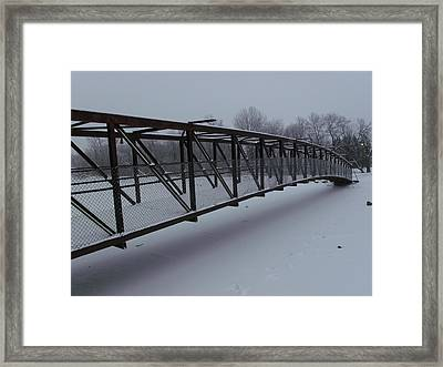 Lonely Winter Bridge Framed Print by Brian  Maloney