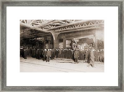 Long Bread Line With Police Presence Framed Print by Everett
