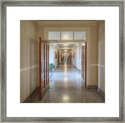 Long Hallway In Historic Building Framed Print by Douglas Orton