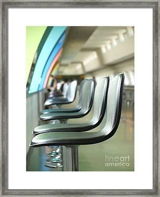 Long Row Of Bar Stools Framed Print by Yali Shi