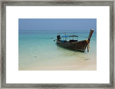 Long Tail Boat Framed Print by Nawarat Namphon