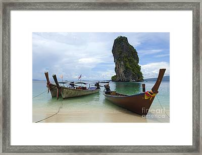 Long Tail Boats Thailand Framed Print by Bob Christopher