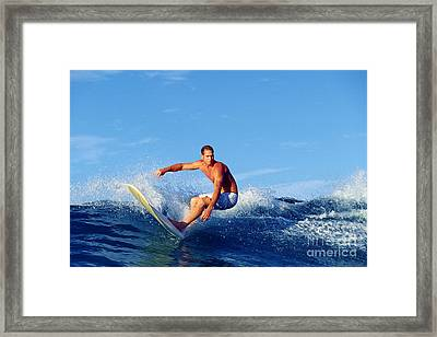 Longboard Surfer Framed Print by Paul Topp