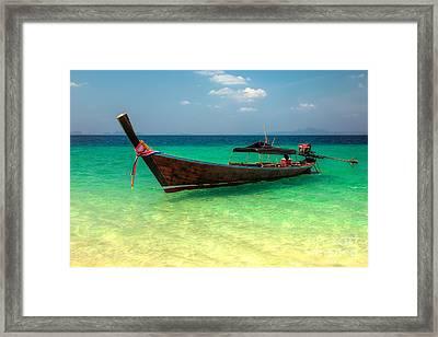Longboat Thailand Framed Print by Adrian Evans