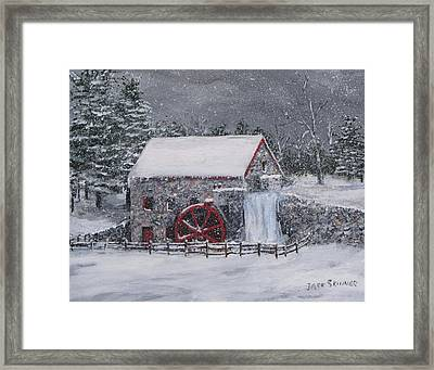 Longfellow's Grist Mill In Winter Framed Print by Jack Skinner