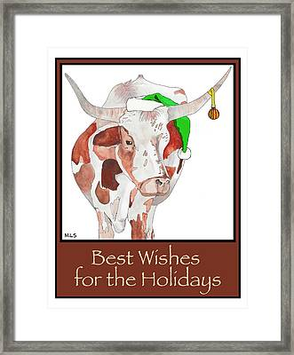 Longhorn Christmas Framed Print by Marla Saville