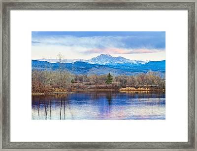 Longs Peak And Mt Meeker Sunrise At Golden Ponds Framed Print by James BO  Insogna