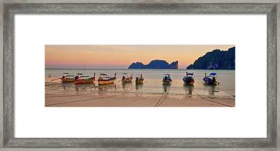 Longtail Boats On Beach At Sunset Framed Print by Image by Ben Engel