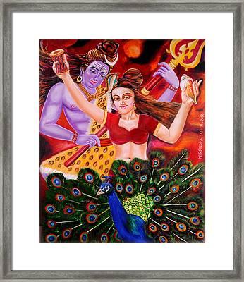 Lord Shiva-parvati Dancing Framed Print by Nirendra Sawan