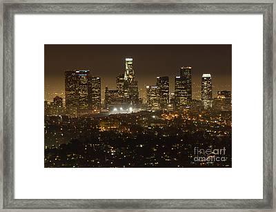 Los Angeles Skyline At Night Framed Print by Bob Christopher