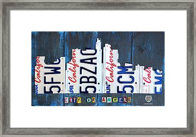 Los Angeles Skyline License Plate Art Framed Print by Design Turnpike