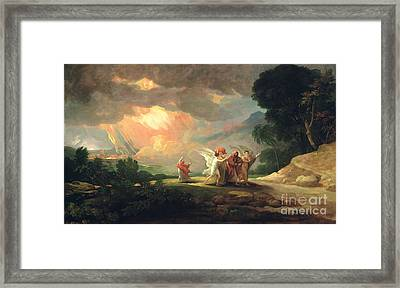 Lot Fleeing From Sodom Framed Print by Benjamin West