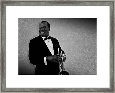 Louis Armstrong Bw Framed Print by David Dehner