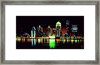 Louisville In Black Light Framed Print by Thomas Kolendra
