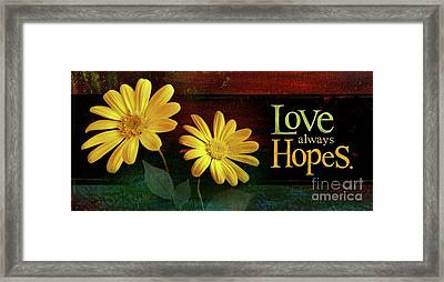 Love Always Hopes Framed Print by Shevon Johnson