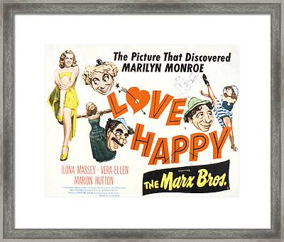 Love Happy, Marilyn Monroe, Marion Framed Print by Everett