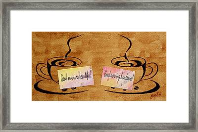 Love Morning Coffee Framed Print by Georgeta  Blanaru