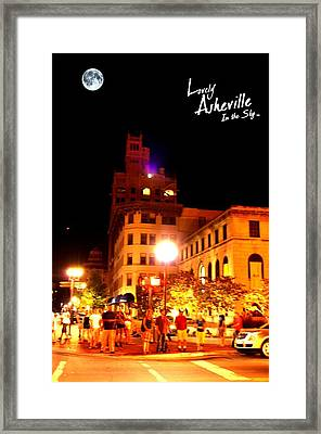Lovely Asheville Night Downtown Framed Print by Ray Mapp