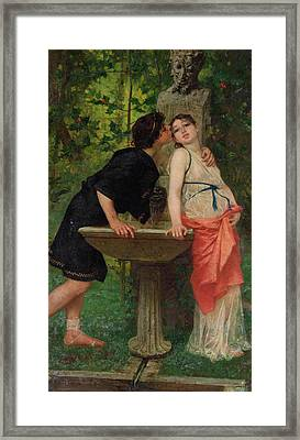 Lovers By A Fountain Framed Print by Modesto Faustini