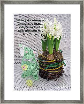 Lt Easter Greeting. Bunny. Lithuanian Text Framed Print by Ausra Huntington nee Paulauskaite