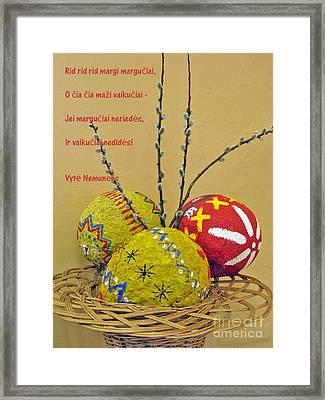 Lt Easter Greeting. Lithuanian Text 01 Framed Print by Ausra Huntington nee Paulauskaite