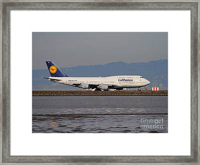 Lufthansa Jet Airplane At San Francisco International Airport Sfo . 7d12353 Framed Print by Wingsdomain Art and Photography
