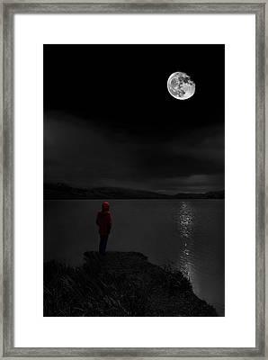 Lunatic In Red Framed Print by Meirion Matthias