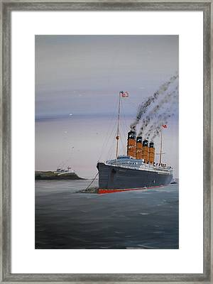 Lusitania At Roches Point Framed Print by James McGuinness