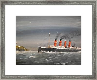 Lusitania Off The Old Head Framed Print by James McGuinness