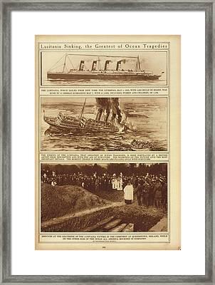 Lusitania Sinking The Greatest Of Ocean Framed Print by Everett