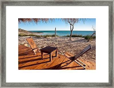 Luxurious Terrace On The Beach Framed Print by Pierre-Yves Babelon