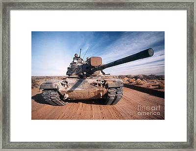 M-60 Battle Tank In Motion Framed Print by Stocktrek Images
